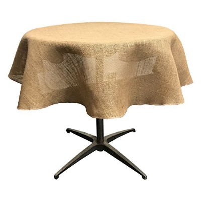 La Linen Natural Burlap Tablecloth, Round, 140cm