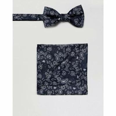 セレクテッド オム Selected Homme ハンカチ・チーフ Bow Tie And Pocket Square Set In Navy Paisley Dark navy