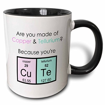3dローズInspirationzStore周期的なテーブル – Are Youの銅とTellurium Because You Are Cute科学Joke – マグカップ 11-oz Two...