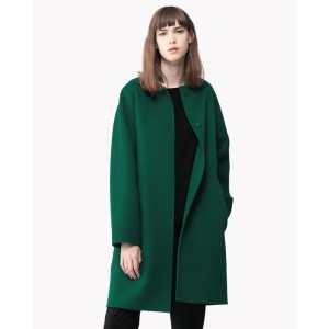 【Theory】New Divide Luxe Rounded Coat DF 【30%OFF】今季いち押しのノーカラーコート。 グリーン 大人 セオリー レディース