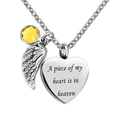 CLY Jewelry Love Angel Wing A Piece of My Heart is in Heaven 女性用 誕生石 遺灰用骨壺ネックレス