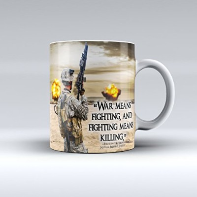 Army Mug Nathan Bedford Forrest Quoteセラミックマグ15oz