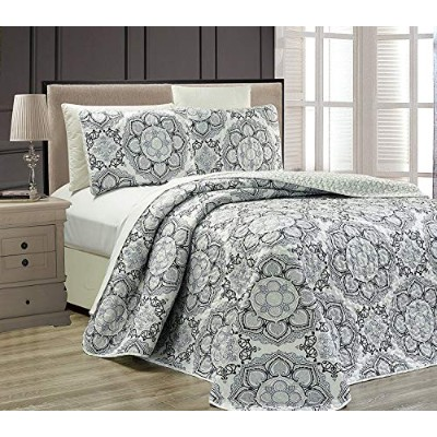 (King) - Fancy Collection 3 pc Bedspread Bed Cover Modern Reversible White Grey Black New Linda...