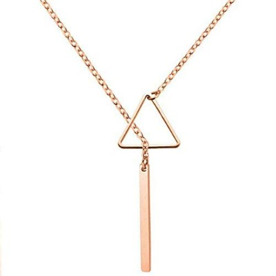 Jude JewelersステンレススチールClassical Simple Triangle Longバー襟ネックレス