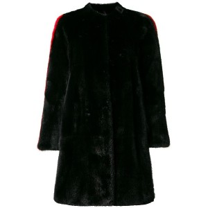 Philipp Plein side stripe detail fur coat - ブラック