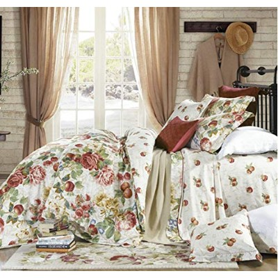 (Queen, Ivory) - Shabby Chic French Country Garden Floral Duvet Quilt Cover by Eikei, Colourful...