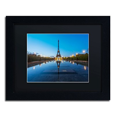 Trademark Fine Art Blue Hour in Front of The Eiffel Tower Artwork by Mathieu Rivrin Frame 11 by 14...