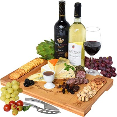 Unique Bamboo Cheese Board, Charcuterie Platter and Serving Tray for Wine, Crackers, Brie and Meat....