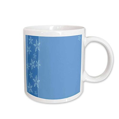 3dRose mug_36830_1 Christmas Ice Blue Background with Snowflakes Ceramic Mug, 11-Ounce by 3E Rose ...
