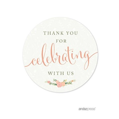 (Label Thank You for Celebrating) - Andaz Press Floral Roses Girl Baby Shower Collection, Round...