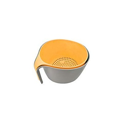 (Orange/Gray) - 2-in-1 Large Colander Bowl Sets & Food Strainers with Good Grips for Washing Fruits...