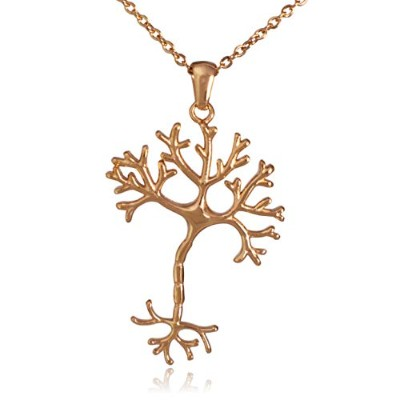 Clayton Jewelry Labs Nerve Cell Science ステンレススチールペンダントネックレス ゴールド