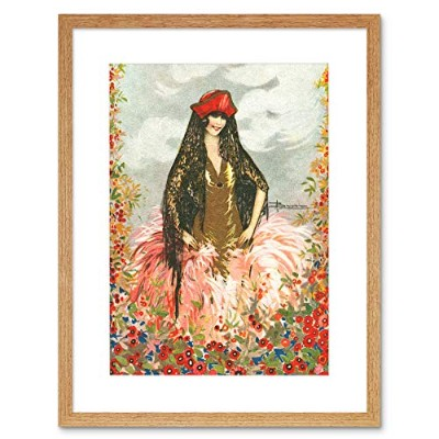 Painting Postcard Dress Woman Spanish Hat Adolfo Busi Framed Wall Art Print ペインティングはがきドレス女性スペイン語壁