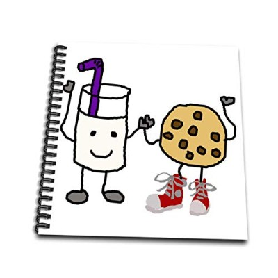 3droseオールスマイルズアートファニー–Funny Cute Milk and Cookies Cartoon Character Friends–Drawing Book 4x4...