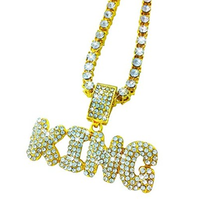 "EXO Jewel Iced Out Gold KingバブルWordペンダントwith 24 "" CZダイヤモンドチェーン"