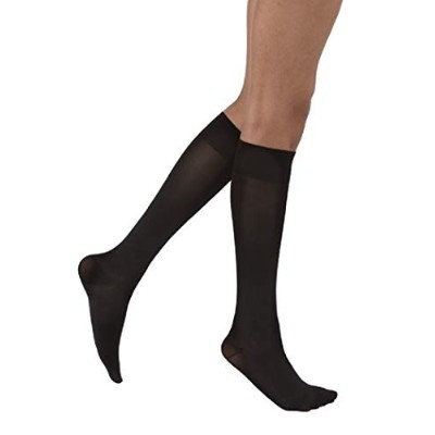 Jobst 115602 Opaque Knee Highs 15-20 mmHg - Size & Color- Classic Black LARGE PETITE