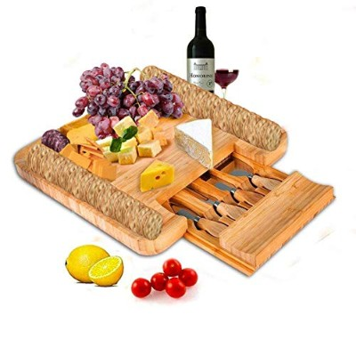 (Traditional style) - SMAGREHO Bamboo Cheese Board & Cutlery Knife Set with Slide-Out Drawer