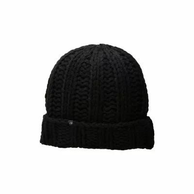 プラッシュ Plush ニット Fleece-Lined Chunky Cuffed Beanie Black