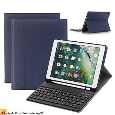 iPad 9.7/iPad Airキーボードケース、naswei超薄型ソフトTPUケースカバー組み込み鉛筆ホルダーwith Removable取り外し可能キーボード20186th...