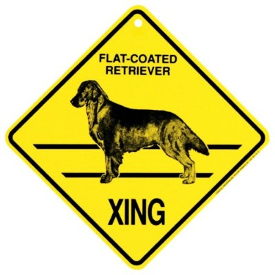 Flat Coated Retriever Xing Caution Crossing Sign犬ギフト