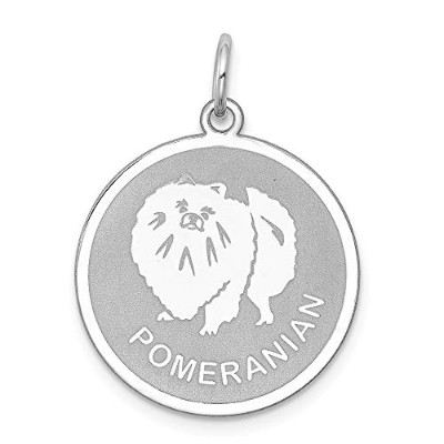 Beautiful Sterling silver 925 sterling Sterling Silver Rhodium-plated Pomeranian Disc Charm comes...