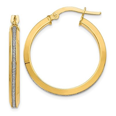 Beautiful Yellow gold 14K Yellow-gold Leslie's 14k Polished Glimmer Infused Hoop Earrings comes...