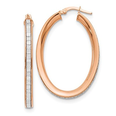 Beautiful Rose gold 14K Leslie's 14K Rose Polished Glimmer Infused Texture Hoop Earrings comes with...
