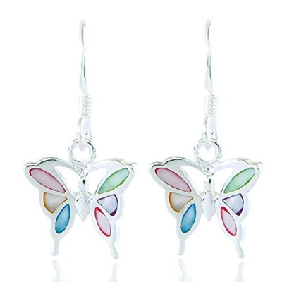 925 Sterling Silver Multi-Coloured Mother of Pearl Shell Butterfly Dangle Hook Earrings Fashion...