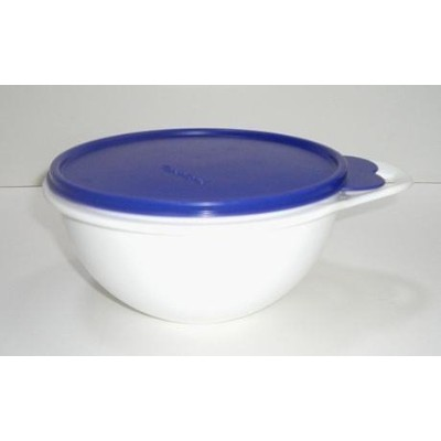 Tupperware Thatsa Bowl Jr, 12 Cup Mixing Storage Bowl (Lacquer Blue Seal with White Bowl) by...