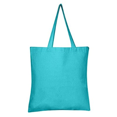 (1, Turquoise) - BagzDepot 100% Durable Canvas Plain Tote Bags, 350ml Thick Reusable Grocery Tote...