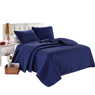 """(King (96x102), Blue) - KING NAVYBLUE Solid colour Quilted Bedspread Coverlet(96""""x102"""") +2 shams ..."""