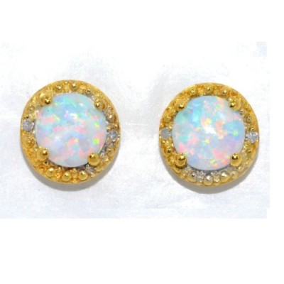 6mm Simulated Opal & Diamond Round Stud Earrings .925 Sterling Silver 14Kt Yellow Gold Plated