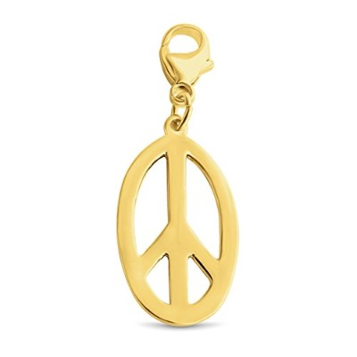 azaggiゴールドメッキスターリングシルバー楕円形Hippie Symbol Peace Sign Pendant with Lobster Claw Clasp p0035g _ PC