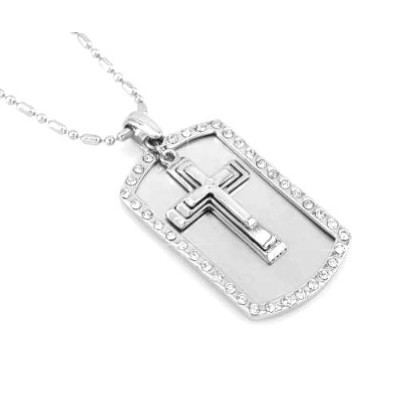 Cross–犬タグペンダントCoved with Rhine Stonesネックレスpendant-freeチェーン