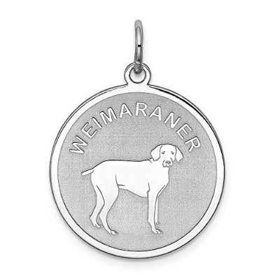 Beautiful Sterling silver 925 sterling Sterling Silver Rhodium-plated Weimaraner Disc Charm comes...
