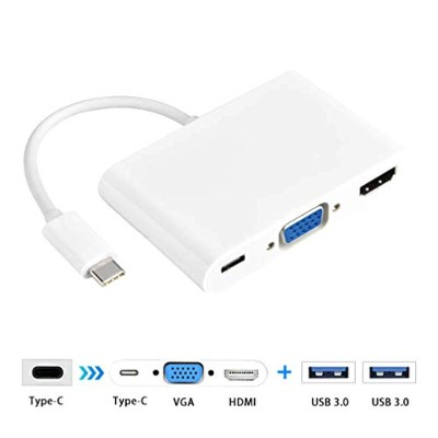 TYPE-C TO HDMI、Horyku(ホリーク)5in1 USB-C Type-C to HDMI(4K 30Hz)+ VGA(1080p 60Hz)+USB3.0 変換アダプタ USB C...