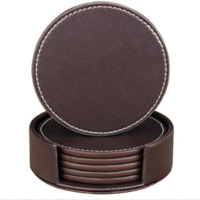 (Round, Brown) - Leather Coasters for Drinks, Handmade Hibeer Set of 6 PU coaster with Holder,...