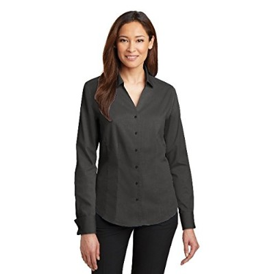 Red House RH63 Ladies French Cuff Non-Iron Pinpoint Oxford Shirt44; Charcoal - 2XL