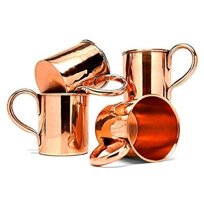 BonBon Solid Copper Moscow Mule Mugs With BonBon Reusable Stainless Steel Straws (Set of 4)