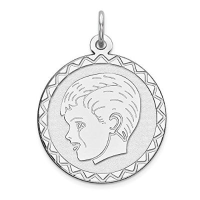 Beautiful Sterling silver 925 sterling Sterling Silver Rhodium-plated Engraveable Boy Disc Charm...