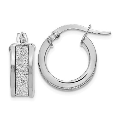 Beautiful White gold 14K Leslie's 14k White Gold Fancy Glimmer Infused Hoop Earrings comes with a...