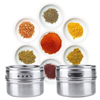 6PCS Multipurpose Kitchen Stainless Steel Spice Jars with Trestle Rack