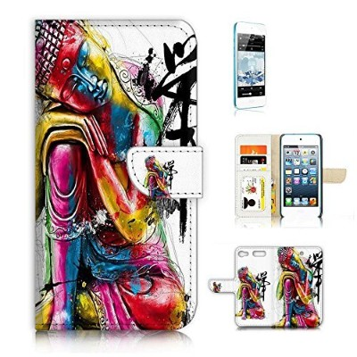 iPod Touch 6 iTouch 6 Flip Wallet Case Cover & Screen Protector Bundle! A20057 Buddha