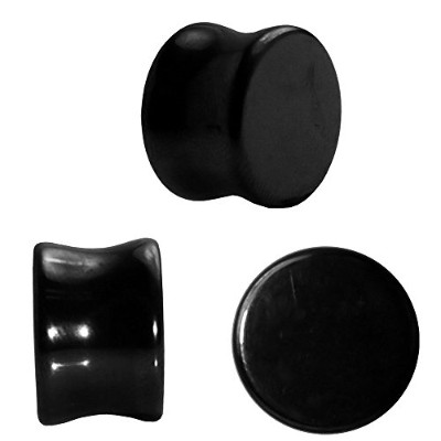 ブラックObsidian Stone Ear Plugs、ダブルフレアブラックObsidian Stone Ear Plugs for Him and For Her