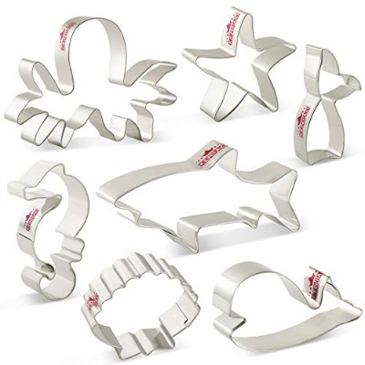 LILIAO Under the Sea Cookie Cutters Set Shark Whale Biscuit and Fondant Cutters - 7 Piece - Shark,...