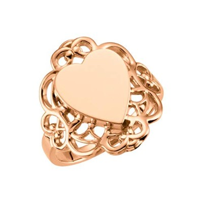 Beautiful Rose gold 10K Rose-gold Heart Filigree-Design Signet Ring comes with a Free Jewelry Gift