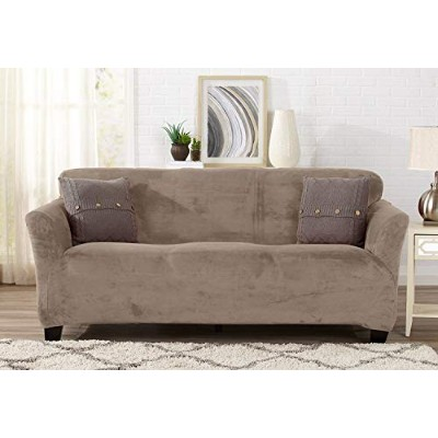 (Sofa, Cappuccino) - Form Fit, Slip Resistant, Stylish Furniture Shield/Protector Featuring Velvet...