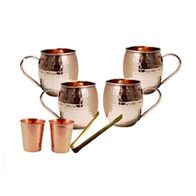 Parijat Handicraft Moscow Mule 100 % Solid Pure Copper Mug / Cup ( 473ml / 4のセット、ハンマー)、withボーナス2銅ハンマ...