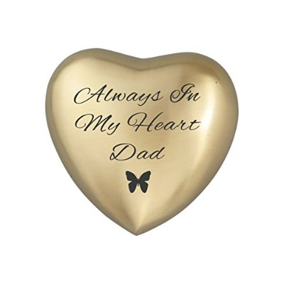 Always in My Heart DadゴールデンハートバタフライUrn記念品for灰Cremation