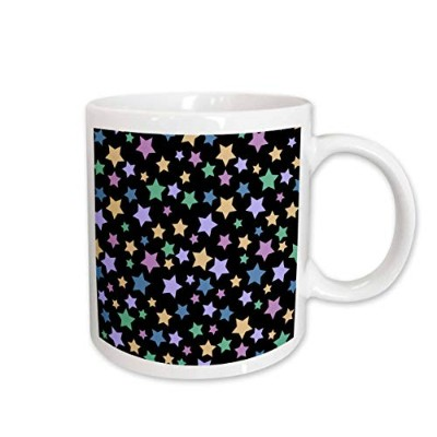 (330ml) - 3dRose Cute Stars Pattern on Black, Girly Colourful Purple Teal Pink Blue Yellow, Ceramic...